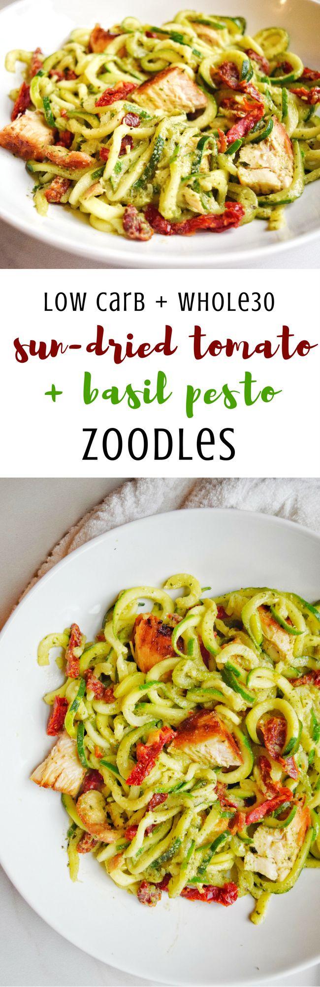 Sun-Dried Tomato & Basil Pesto Zoodles (Whole30, Dairy Free, Paleo) | Personally Paleo  #whole30 #paleo #dairyfree #lowcarb