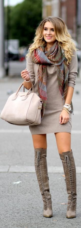 #winter #fashion / longsleeve knit dress + tartan scarf