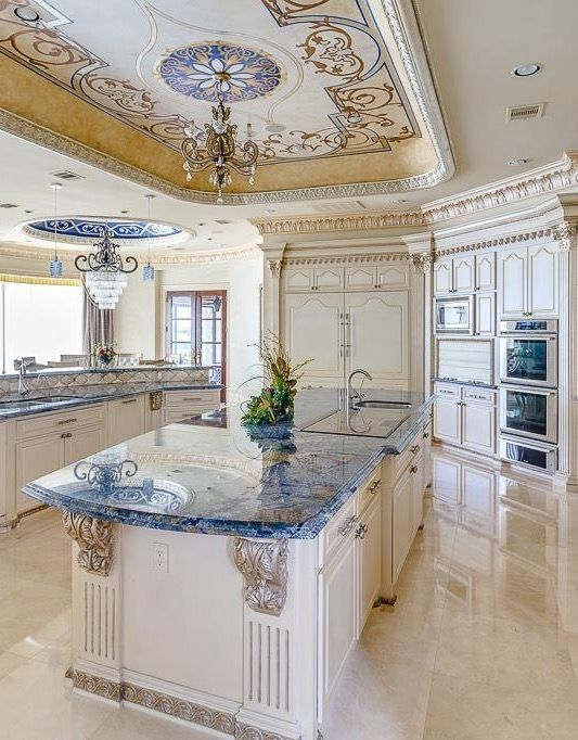 Interior Design Ideas. Beautiful colors and designed ceiling. Always love kitchen islands. Beautiful lighting is a must.