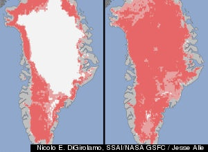 Nasa image of Greenland ice melt from 40% to 97% in less than a week in July, 2012