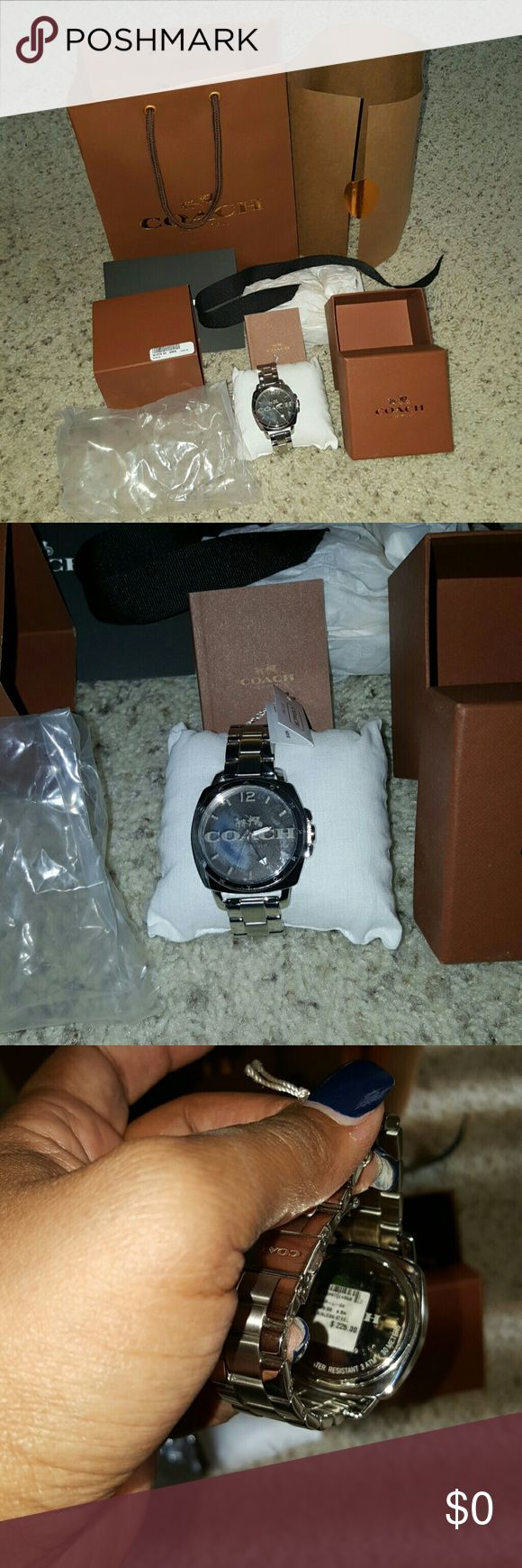AUTHENTIC COACH LARGE FACE WATCH Authentic Coach watch. Comes with everything you see. 🚫PRICE IS FIRM🛇. Watch is not even a year old. Its still ticking. Still has the plastic protection on the face. Bought from retail store. Looks like a blue tint on face but thats because of the plastic. Will take more pics if needed. Coach Accessories Watches