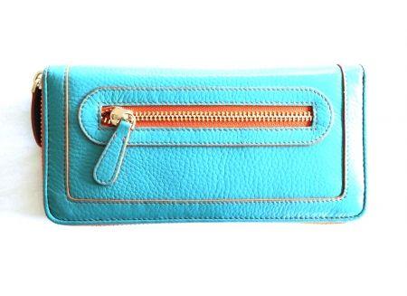 hardtofind. | Retro leather wallet in blue Boxcarorange