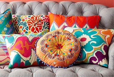 ⋴⍕ Boho Decor Bliss ⍕⋼ bright gypsy color & hippie bohemian mixed pattern home decorating ideas - Vibrant Pillows. Love these.