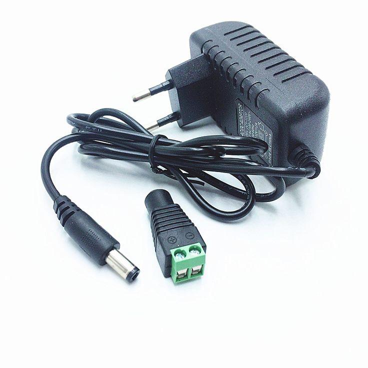1 SZTUK 24 W UE Wtyczką AMERYKAŃSKĄ Adapter Sterownika AC110V 220 V dc 12 V 2A 5.5*2.1mm Zasilacz LED + 1 sztuk Żeńskie Złącze Do LED taśmy