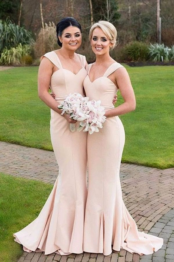 Mermaid Straps Sweep Train Ruched Light Pink Stretch Satin Bridesmaid Dress