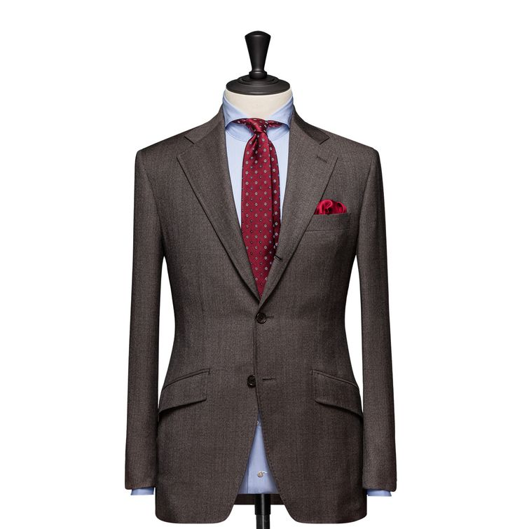 Tailored 2-Piece Suit – Fabric 4558 Glencheck Brown Cloth weight: 310g Composition: 100% Wool Super 100's