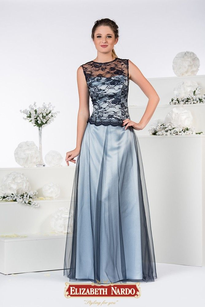 9caf4bf853 19-330 Kék selyemszatén - tüll ruha, csipke felső résszel | Alkalmi ...
