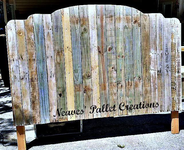 """RECYCLED WOOD PALLETS: Bump-Up King Size Headboard. The colors you see in the wood are natural, all we have done is sand it. You could apply a clear-coat and leave it alone. The dimensions are 78"""" wide x 63"""" high x 3.5"""" deep. This one is getting a double color of paint and sells for $180. """"Naked"""" we charge $150. Staining is $15 extra. Message us if you would like to update your bedroom. ( Twin size headboards for $75, Full, $100, Queen, $125, King for $150. These are all naked prices.)…"""