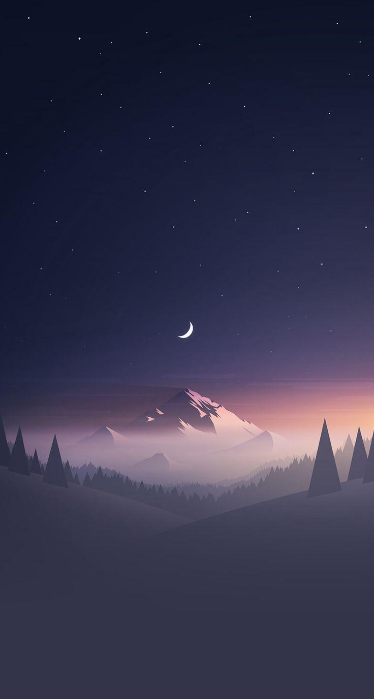 Iphone Wallpapers – Mountain Stars Moon IPhone Wallpaper – Best Wallpaper HD