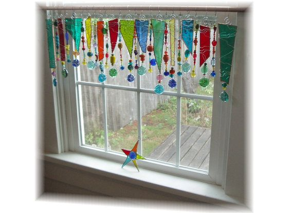 Party for your window stained glass window treatment for Stained glass kitchen windows