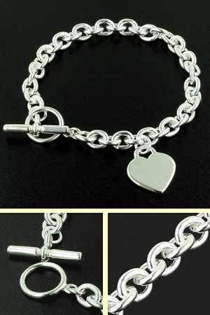 Sterling Silver 8.5mm Rolo Link Heart Bracelet