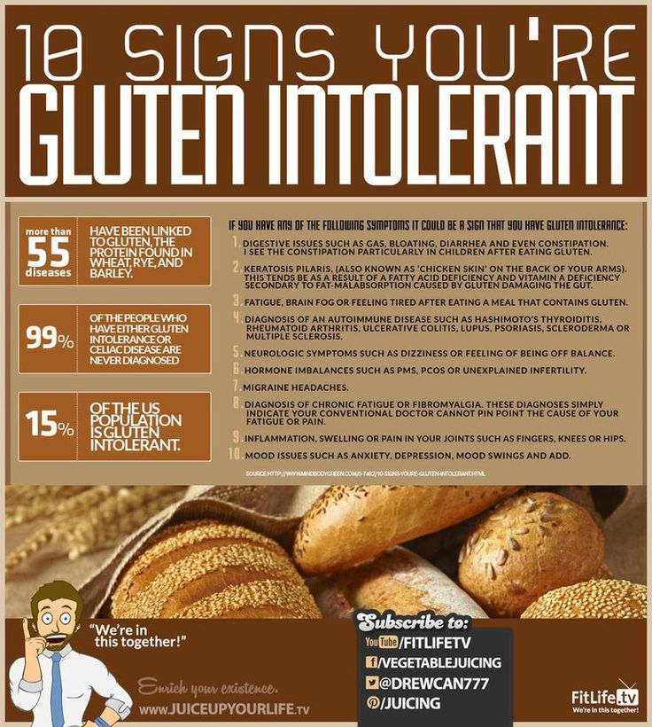 10 Signs You're Gluten Intolerant - if your not diagnosed with Celiacs or gluten intolerance & you buy gluten free products, they won't make you lose more weight, just cost you more $.