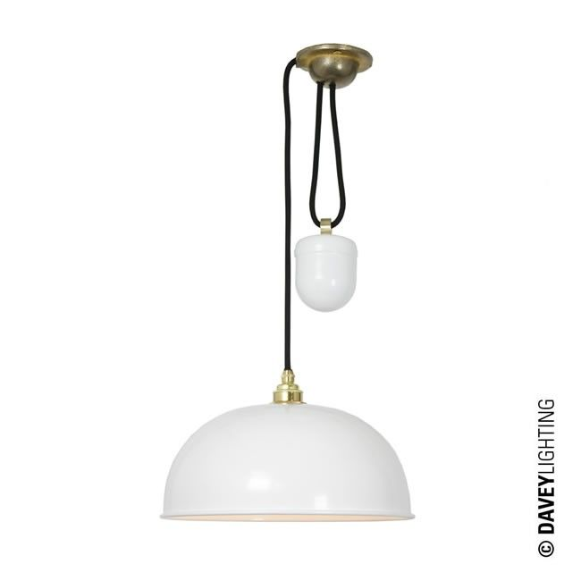 Dome Rise Fall Pendant Light 7300 White By The UKs Davey Lighting