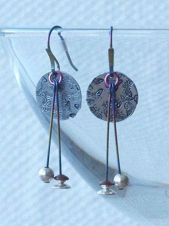 aluminum earrings butterfly aluminum by HandmadeEarringsUk on Etsy
