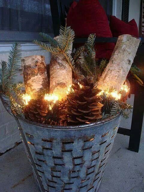 Quick n Easy Holiday Doorstep Decor! Fill a metal bucket or tin with pine sprigs, pinecones, and cut logs. Top off with a strand of Christmas lights and you have a warm and inviting scape to welcome guests.