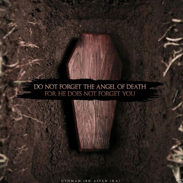 Do not forget the angel of death  for he does not forget you.