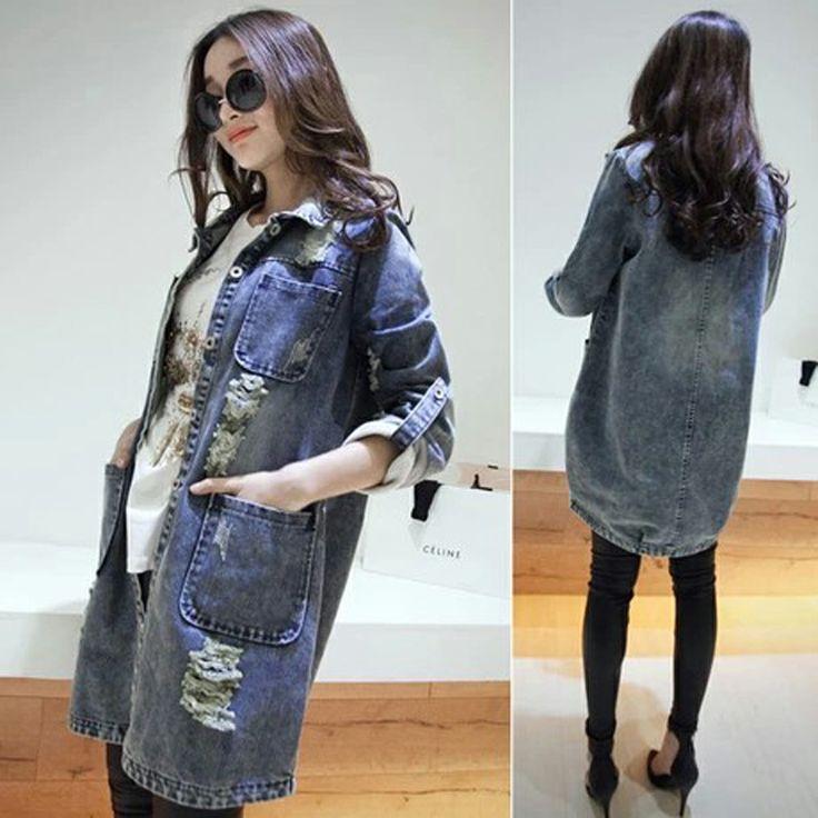 Корейские женщины 2014 весной новый ретро отворот рукава длинные участки промывают джинсовой тренчкот ход - Taobao