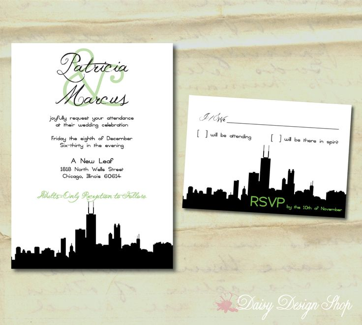 wedding invitation chicago city silhouette invitation and rsvp card with envelopes 225 - Wedding Invitations Chicago