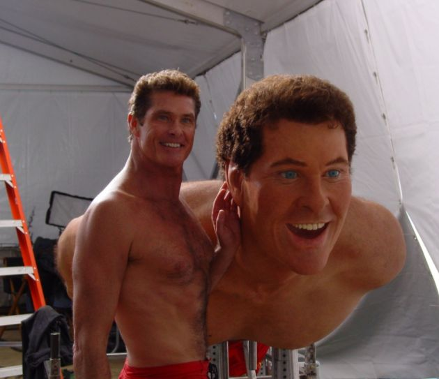 David Hasselhoff posing with his wax stunt double on the ...