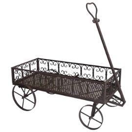 Chariot Porte Buche Jardinière À Plante Fleur Mobilier De Jardin Desserte À Roulette En Fer Marron L Héritier Du Temps