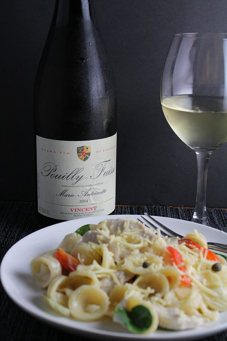 Pouilly-Fuissé wine pairs well with a creamy goat cheese pasta and chicken recipe.
