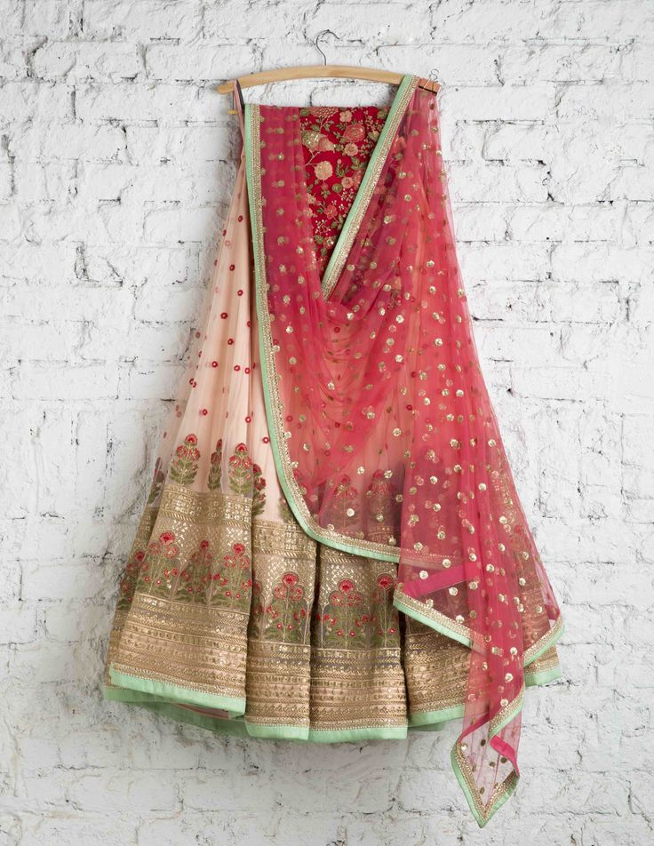 SwatiManish Lehengas SMF LEH 124 17 Peach puff daman lehenga with candy pink dupatta and red thread work blouse