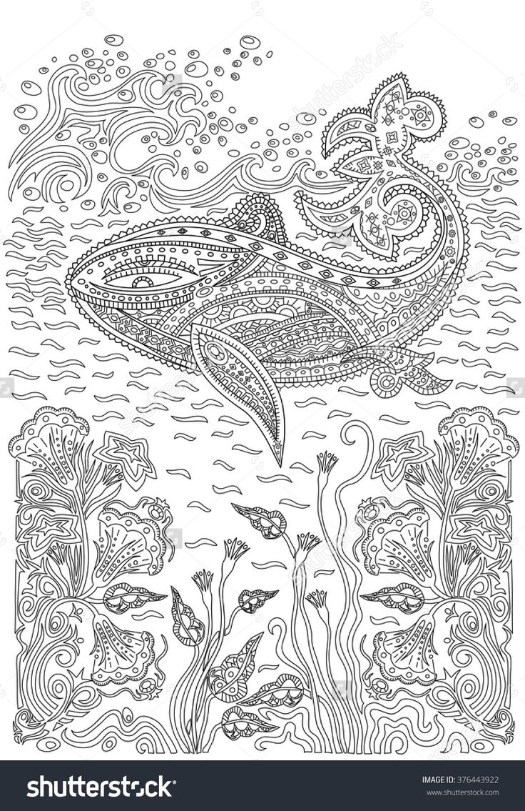 Humpback Whale In The Waves And Seaweed Coloring Page