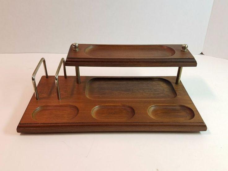 Vtg Mid Century Modern Wood Desktop Office Desk Organizer Wallet Coin Key Tray