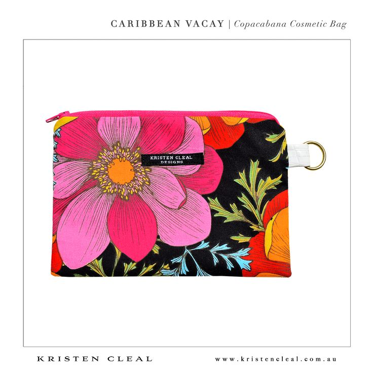 Copacabana Cosmetic Bag by Kristen Cleal Designs  Caribbean Vacay 2014 Collection