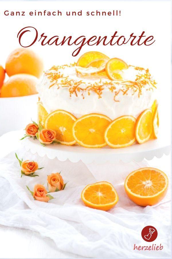 Kuchen Rezepte, Torten Rezepte: Rezept für eine superfruchtige und ganz einfache Orangentorte von herzelieb. Ideal zum Geburtstag, zur Konfirmation oder auch zur Hochzeit #kuchen #backen #torte #herzelieb