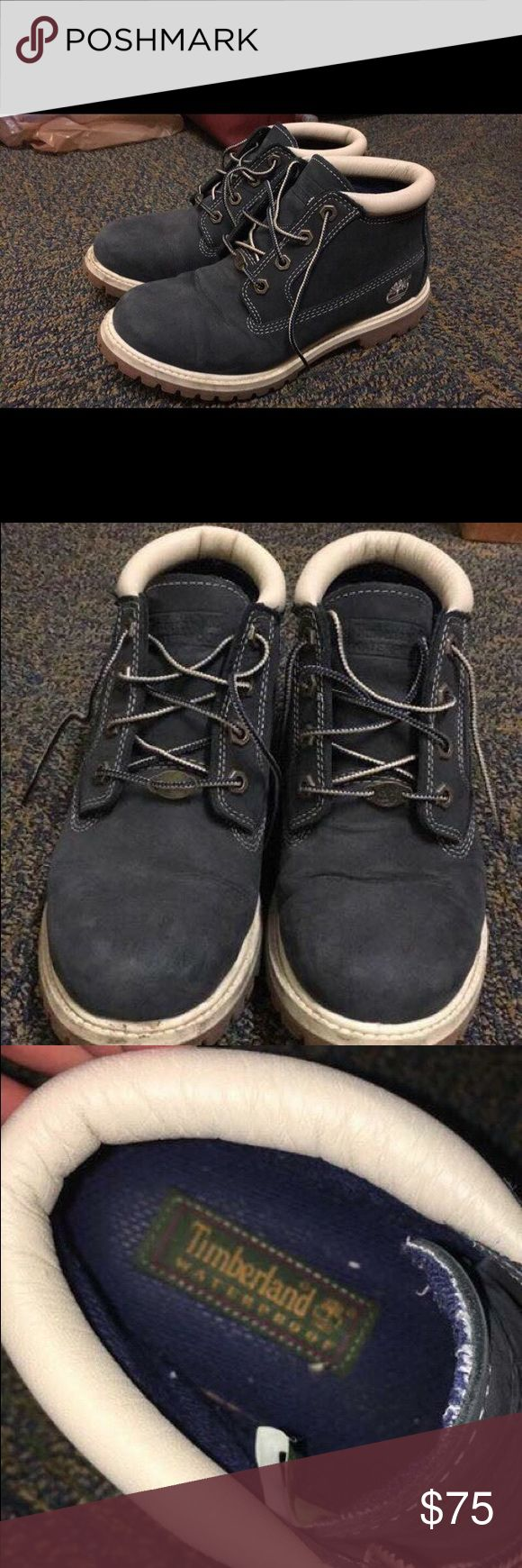 Navy blue timberland boots Size: 7.5 Style: short Color: navy  Condition: very good  Purchased for $150, barley worn  ***(Willing to negotiate price)*** Shoes Ankle Boots & Booties