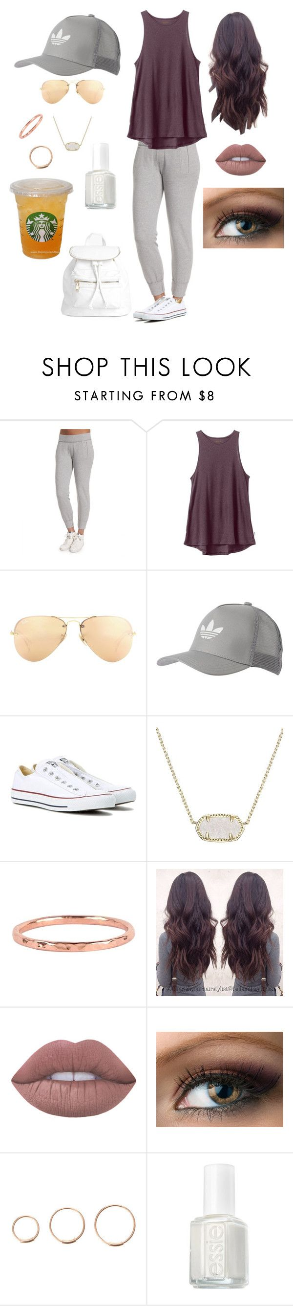 """sporty mom"" by autgalloway on Polyvore featuring Norma Kamali, RVCA, Ray-Ban, adidas Originals, Converse, Kendra Scott, Dana Reed, Lime Crime, Essie and Boohoo"