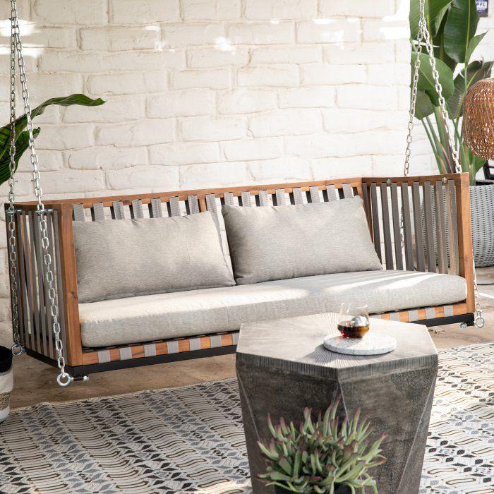 Belham Living Cobalt Springs Wood And Strap Porch Swing Bed