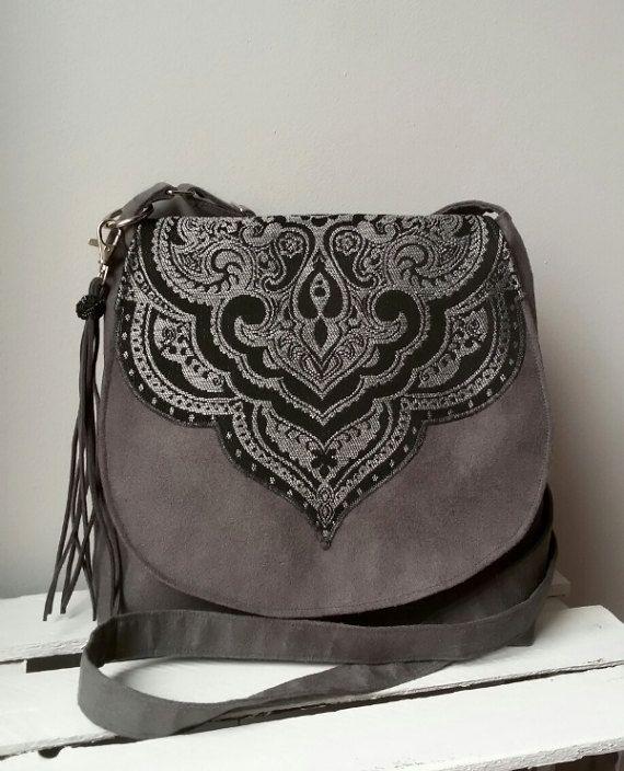 Gray  exceptional crossbody bag Oriental bag Boho chic bag Medium size bag Evening purse Vegan messenger bag Sling crossbody bag Hippie bag