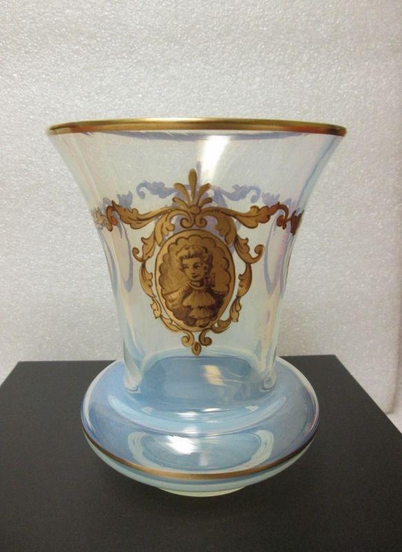 VENETIAN SALVIATI OPALESCENT Glass His & Hers PORTRAIT Vase GOLD HAND ENAMELED! #ProbablySalviati #Venetian