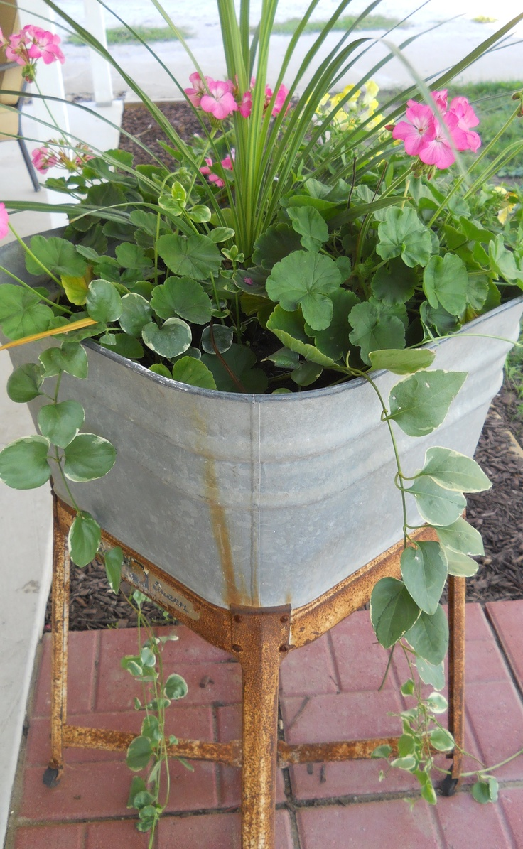 Gardens Ideas, Flowers Gardens, Galvanized Wash Tubs Ideas, Gardening ...