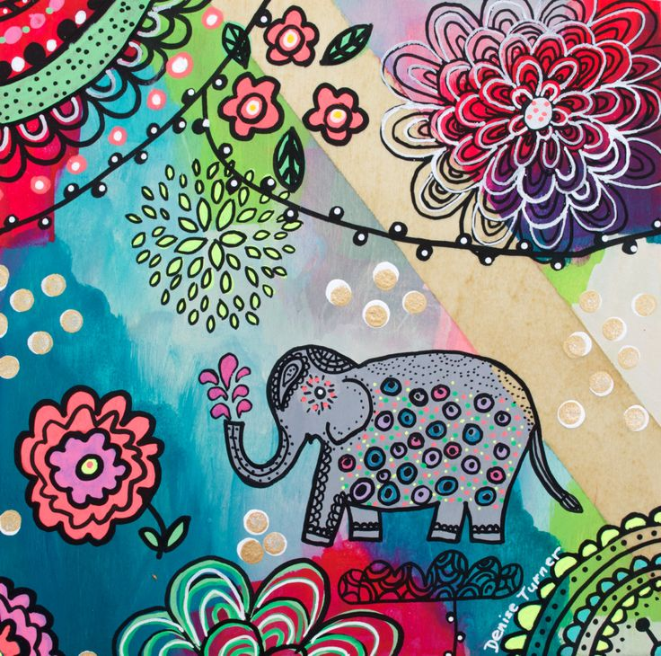 BOHEMIAN ELEPHANT #2 Print by PositivelyArt on Etsy.The elephant's characteristics of reliability, memory, strength and honour are captured in the various poses. Elephants teach us  to be gentle, committed and be good communicators in our relationships. A vibrant tribute to any elephant lover! The print is reproduced on smooth, matte, fine archival paper allowing for an impressive pictorial depth of the original. www.positivelyart.ca