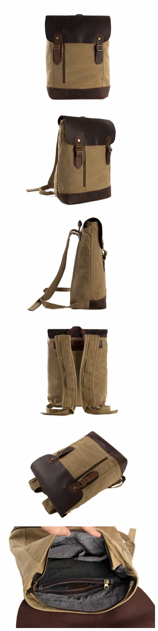 HANDMADE CANVAS LEATHER BACKPACK WAXED CANVAS CASUAL BACKPACK SCHOOL BACKPACK