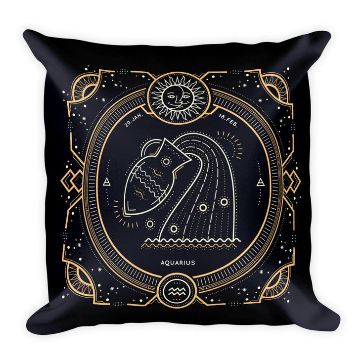 """FREE SHIPPING Zodiac Aquarius 18""""x18"""" Couch Decor Stuffed Washable Removable Cover With Hidden Zipper"""