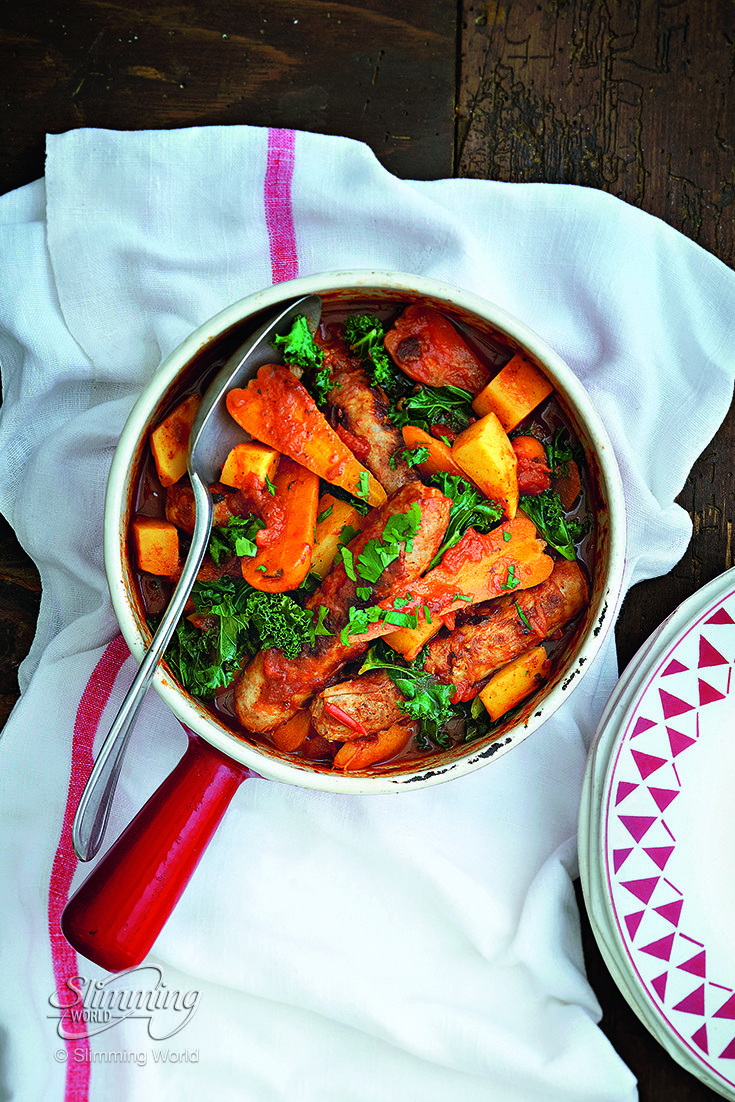 This delicious one-pot sausage casserole is bursting with sweet, slow-cooked vegetables and low-Syn pork sausages.   http://www.slimmingworld.co.uk/recipes/sausage-casserole.aspx