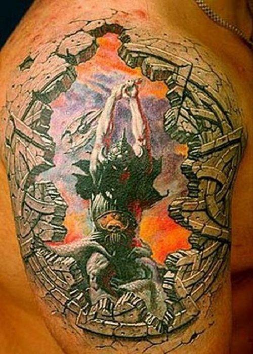 Awesome 3D Tattoos for Men: Colorful Men 3D Tattoo Design On Shoulder ~ tattoosartdesigns.com 3D Tattoos Inspiration