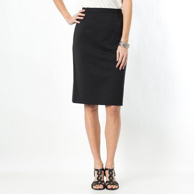 Two-Way Stretch Twill Weave Skirt, Length 58 cm.- black- 18, black,grey