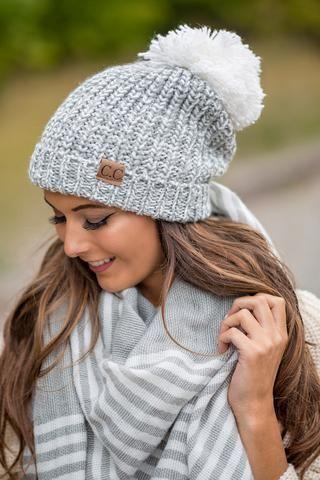 CC Two Toned Knit Fold Over Puff Beanie (Grey & Ivory) - NanaMacs.com - 1