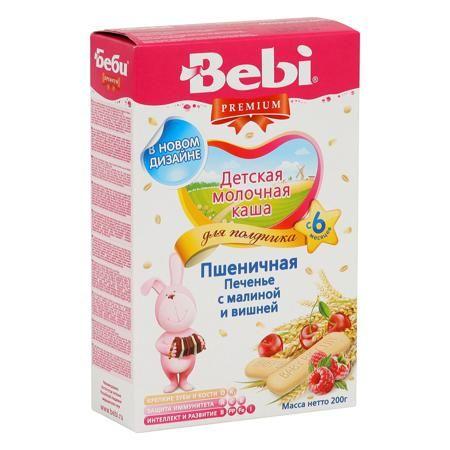 Bebi Каша Премиум Печенье с малиной и вишней для полдника молочная ,с 6 мес.  — 187р.  Полдник – очень важный прием пищи, он позволяет восполнить энергетические траты организма, снять утомление и психоэмоциональное напряжение во второй половине дня. Полноценный полдник должен включать все три основные макронутриента: белки, жиры, углеводы. В продуктовом выражении это: зерновые блюда, молоко и фрукты. Bebi совместно с диетологами НИИ питания РАМН специально разработали продукт для детей «Каша…