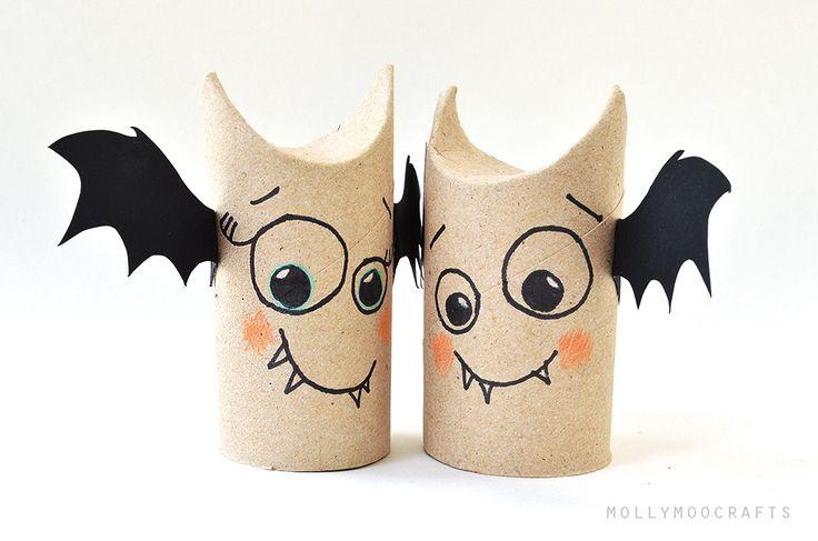 5 min toilet paper roll bat buddies (halloween craft) #Batman, #Craft, #Halloween, #Kids, #ToiletPaperRoll