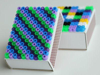 hama beads on matchboxes | DIY: http://pysselbolaget.se/2012/09/25/tandsticksaskarmatchboxes/