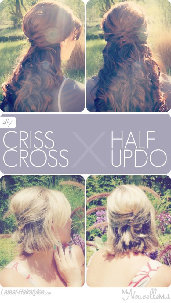 Half Up Criss Cross Hairstyle Tutorial for Long (and Hair Style girl