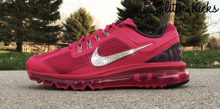 Women's Nike Air Max 360 Running Shoes By Glitter Kicks - Customized With Swarovski Crystal Rhinestones - Magenta