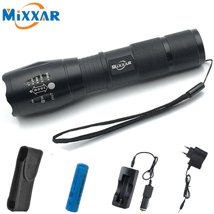ZK50 4000LM 5 Mode Zoomable LED Flashlight Torch CREE XM-L T6 LED Torch High Power With Chargers 5000mAh Batteries and Sleeve