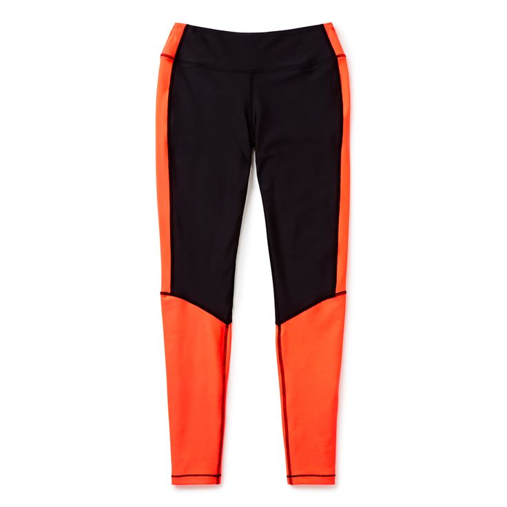 Polyester/Elastane blend. Full length legging features contrast colour block panelling. Fabric provide optimum support during workouts with a high shine finish. Slim fitting silhouette. Available in Pop Melon.